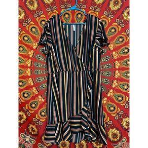 Xhilaration Deep V Short Sleeve Wrap Dress XL